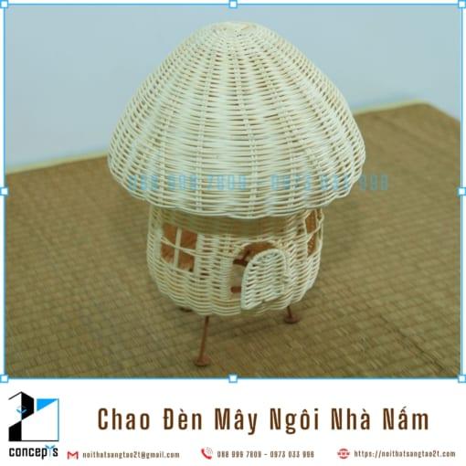 Chụp Đèn Bàn Đan Mây Tự Nhiên, Chao Đèn Mây Thủ Công Hình Ngôi Nhà Nấm Hàng Mỹ Nghệ Xuất Khẩu EU, Mỹ Cho Đèn Bàn Cao 27cm