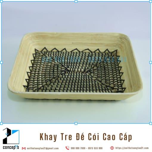 Khay Tre Đáy Cói Tự Nhiên, Khay Trang Trí Để Trái Cây bằng Tre Ép và Cói, Khay Gỗ Decor 36x30x6.5cm Làm Thủ Công